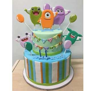 birthday fondant cake monster