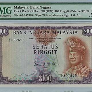 1976 $100 2nd Series( Signed By Ismail Md Ali ) Serial Number : A/9 3977525