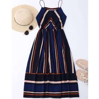 Zaful BNWT Multi Stripe Cami Midi Sundress