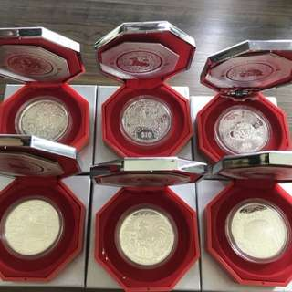 Singapore Second Series Lunar Silver Proof Piedfort Coin x 6 set