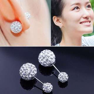 92.5 sterling silver double ball crystal earring