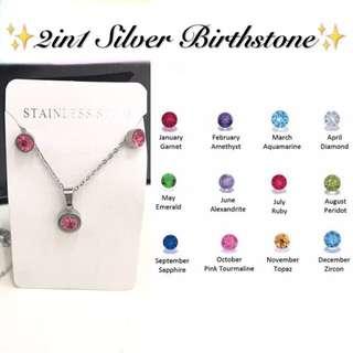 2 in 1 Silver Birthstone Necklace & Earrings