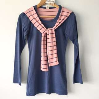 Tie Front Sweater Sleeves Long Sleeve Top Navy Blue