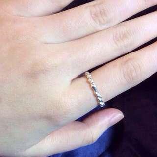 全新手工麻花純銀戒指