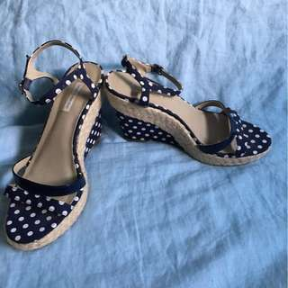 Navy Spot Polka Dot Wedges Target Collection Vortez Summer Wedge Sandals