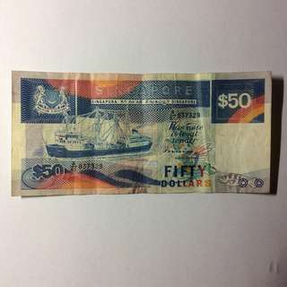 61A837329 Singapore Ship Series $50 note.