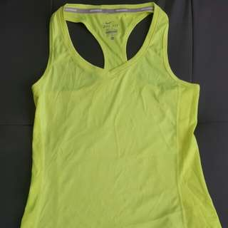 Nike dri-fit 螢光黃運動背心