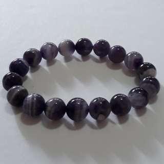 Fantasy Dream Amethyst bracelet (梦幻紫晶手链)AKA Chevron amethyst. Bead size 10mm. Wrist size 17cm.