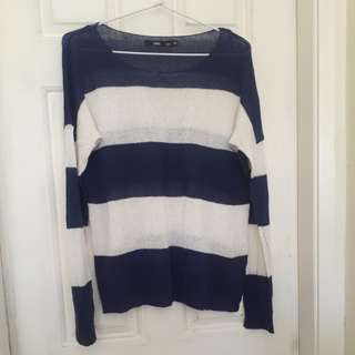 Navy and White Striped Jumper