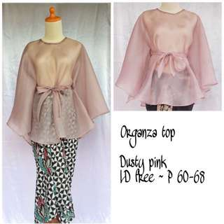 Organza top dusty pink