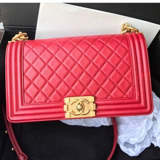 Authentic Chanel Boy Medium Flap Bag