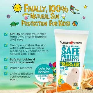 SPF30 Sunscreen SafeProtect for Babies & Kids 50g HUMAN❤NATURE