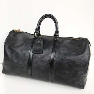Preloved auth lv keepall 50 black epi leather vintage