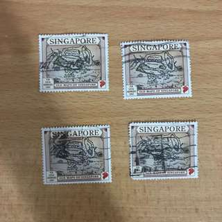 Singapore Stamps - Old Singapore Maps