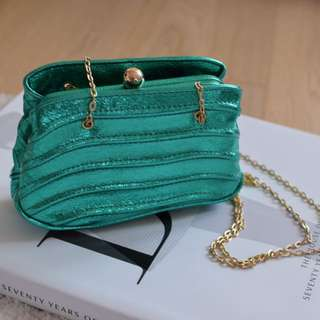 New Zara mini handbag in metallic green with gold strap