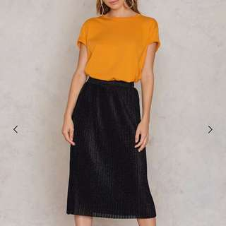Midi Pleated Sparkle Skirt