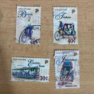 Singapore Stamp - Jinrickshaw. Tricycle. Electric Tram