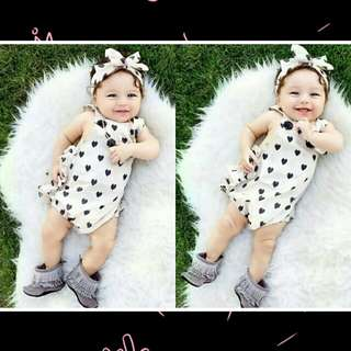 Newborn Baby Girl Tutu Sleeveless Romper+Headband 2pcs Set.