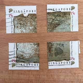 Singapore Stamp - Old Map of Singapore