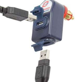 Optimate 90 degree DIN plug with 2 USB outlets