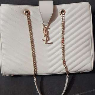 Ysl shopping tote off white
