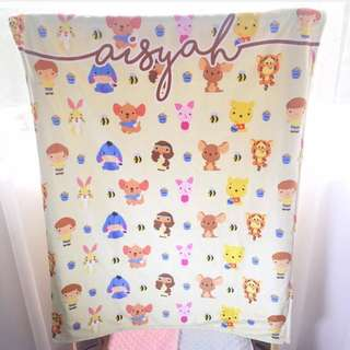 BABY BLANKET Personalised customised gift present fleece minky newborn pooh piglet eeyore roo tiger