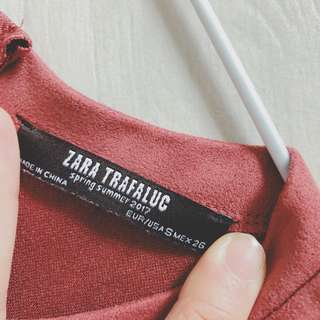 Zara salmon suede crop top with sleeves