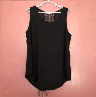 Black sleeveless top with lace