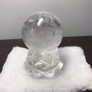Natural Brazil White Crystal Quartz Lotus And Crystal Ball 天然白水晶莲花与白水晶球