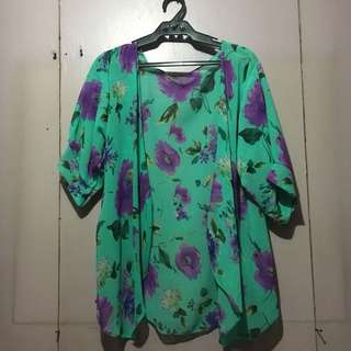 Turquoise with Floral Print Sheer Kimono Cover-Up