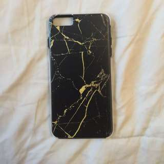 Black and gold marble phone case