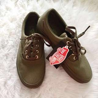 ♡FREE SHIPPING♡ Authentic Vans Era Gold Mono Ivy Green Shoes