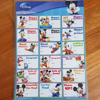 Disney Characters Gift Tag Stickers Minnie Mickey Donald - 18pcs