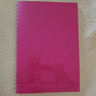 Pink Leather Notebook with London Bridge Embossed