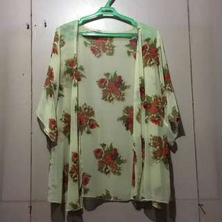 Beige with Floral Print Sheer Kimono Cover-Up