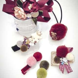 纯手工制作新春套装毛球丝绒气质发饰