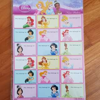 🚚 Disney Princess Name Stickers - 18pcs
