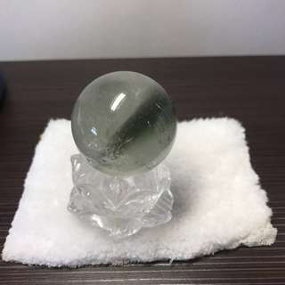 Natural Brazil White Crystal Quartz Lotus and Green Phantom Crystal Ball 天然白水晶莲花与绿幽灵水晶球