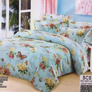 4in1 queen size 2 pillowcases 1 blanket 1 bedsheet US COTTON