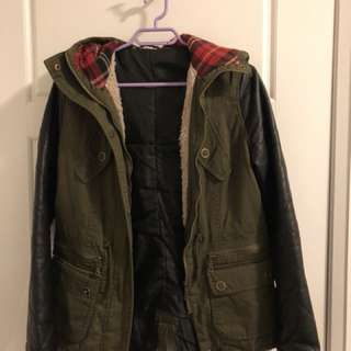 Fall Jacket with Leather Sleeves