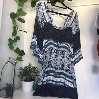 Boho Hippy Style Flare Sleeve Dress