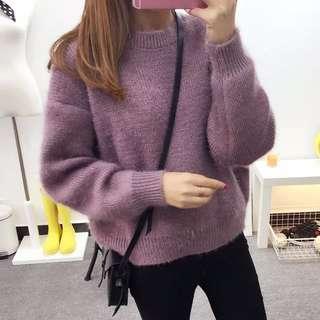 寬鬆毛衣 粉紫色