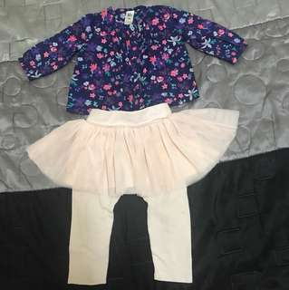 Baby Gap Tutu Skirt & Baby B'Gosh Flowery Top