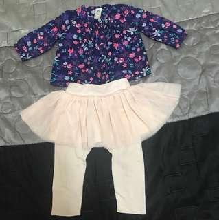 Baby Gap Tutu Skirt & Baby B'Gosh Flowery Top