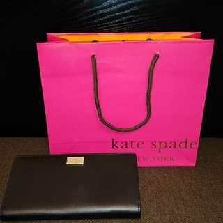 Kate spade黑桃紅真皮銀包