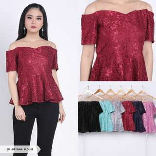 Blouse Brynna Brukat Cold Shoulder