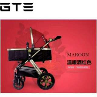 CNY SALE!! High Quality Super Comfortable Detachable Bassinet Anti-Shock Baby Stroller Pram