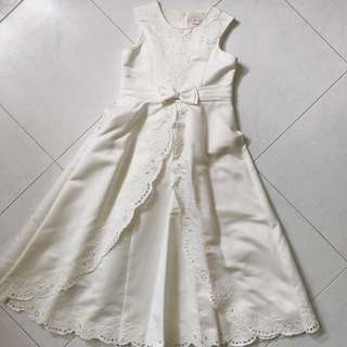 Kids Bridal Wedding Flower Girl White Dress with Floral, Pearl and Ribbon Detaos