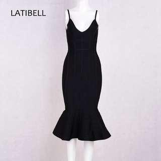 New Korean black fishtail strap dress REDUCED