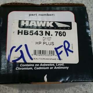 Hawk hp plus hb543n.760 Front Brake Pad With Sensor For Vw Gti Audi A3 And More